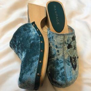 Blue Velvet Beaded Floral Clogs Rampage Slides
